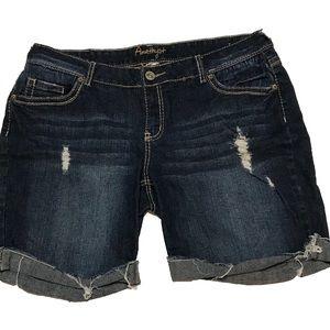 AMETHYST Distressed Jean Shorts Cuffed